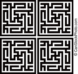 Labirynth ornament - Kufic arabic script repeating four...