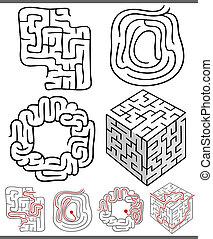 labirynty, labirynty, komplet, albo, wykresy