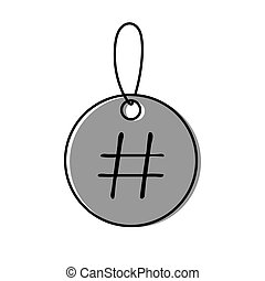 Lable icon with sign hashtag vector illustration on white background