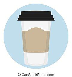 lable, koffie, papier, lege, kop