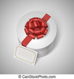 lable, ruban, classique, arc, giftbox, vide, rouges