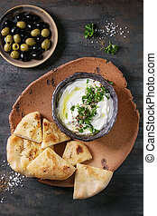 labneh, fresco, lebanese, queijo creme, mergulho