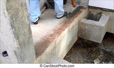 labor build brick in construction site