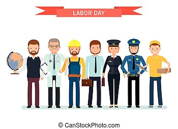 Labor Day. A group of people of different professions on a white background. Teacher, doctor, Builder, businessman, pilot, cop, courier.