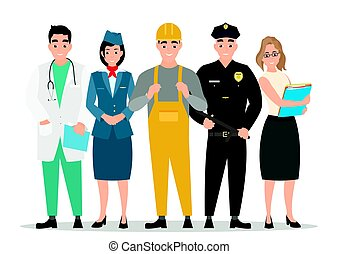 Labor Day. A group of people of different professions on a white