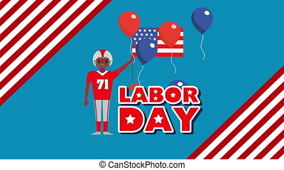 labor day animation with american football player ,4k video