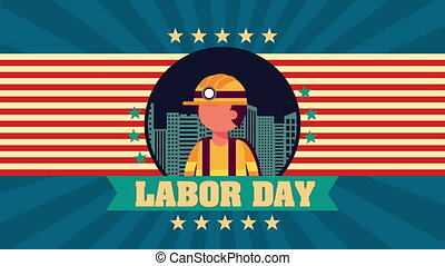 labor day animation with builder constructor