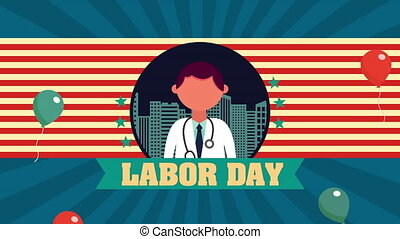 labor day animation with doctor character