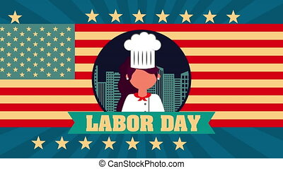 labor day animation with female chef