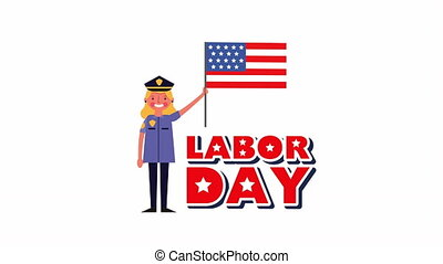 labor day animation with police woman