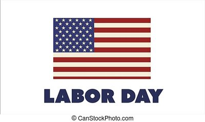 Labor Day banner with American flag on white background. 4k animation