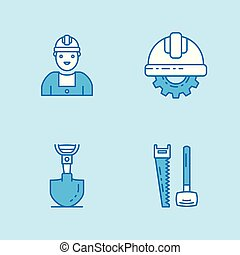 Labor day blue color icons set