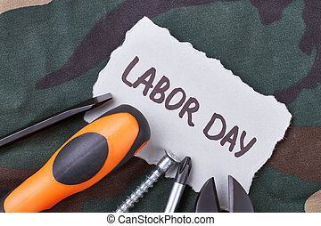 Labor Day card and tools.