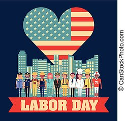 labor day card heart with american flag people city ...
