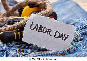 Labor Day card near rope.