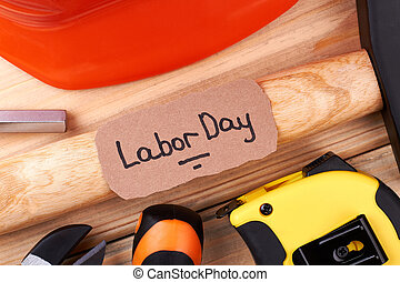 Labor Day card on hammer.