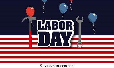 labor day card with USA flag and font ,4k video animation