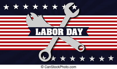 labor day card with USA flag and wrench keys,4k video...