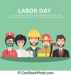 Labor day concept. People group different profession set. Flat vector illustration