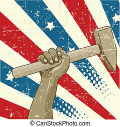 Design for Labor Day with worker%u2019s hand holding a hammer
