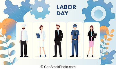 Labor Day Different Occupation Character Stand Set