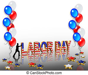 Labor Day Border Illustration With Red White And Blue Stars And