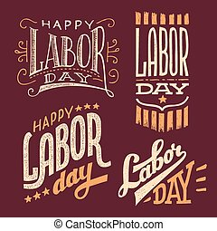 Labor Day hand-lettering labels