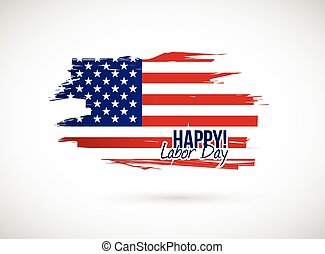 labor day holiday flag sign illustration design over a white...