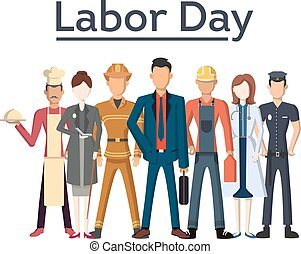 Labor day illustration. People of different occupations ...