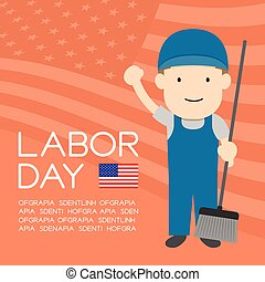Labor day of United States of America, janitor or cleaner man character illustration design  isolated on usa flag pattern coral color background, with copy space