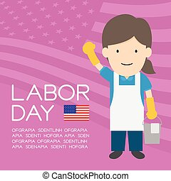 Labor day of United States of America, janitor or cleaner woman character illustration design  isolated on usa flag pattern violet color background, with copy space
