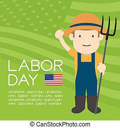 Labor day of United States of America, farmer man character illustration design  isolated on usa flag pattern green color background, with copy space