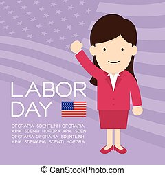 Labor day of United States of America, business woman character illustration design  isolated on usa flag pattern purple color background, with copy space