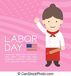 Labor day of United States of America, chef woman character illustration design  isolated on usa flag pattern yellow pink color background, with copy space