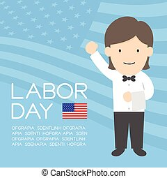 Labor day of United States of America, server or waiter woman character illustration design  isolated on usa flag pattern blue color background, with copy space