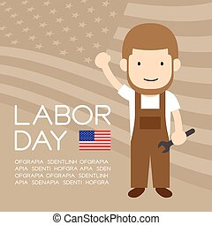 Labor day of United States of America, mechanic man character illustration design  isolated on usa flag pattern light brown color background, with copy space