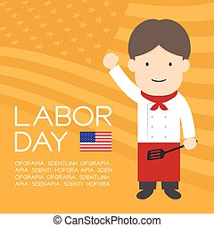 Labor day of United States of America, chef man character illustration design  isolated on usa flag pattern yellow orange color background, with copy space