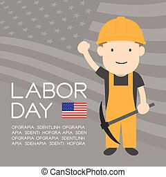 Labor day of United States of America, worker man character illustration design  isolated on usa flag pattern grey color background, with copy space