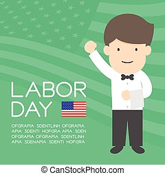 Labor day of United States of America, server or waiter man character illustration design  isolated on usa flag pattern green color background, with copy space