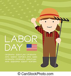 Labor day of United States of America, farmer woman character illustration design  isolated on usa flag pattern green color background, with copy space
