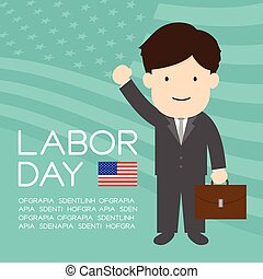 Labor day of United States of America, businessman character illustration design  isolated on usa flag pattern green color background, with copy space