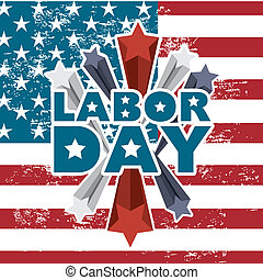 labor day over american flag background vector illustration...