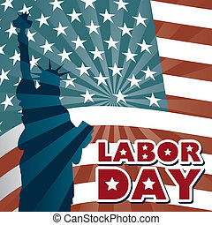 labor day over american flag background vector illustration
