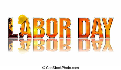 Labor Day embossed reflectiv dimensional wording on white...