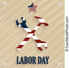 Labor Day poster. Wooden background