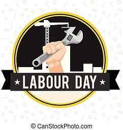 Labor Day Ribbon Hand Holding Wrench Circle Frame Background Vector Image