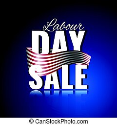 Labor Day sale. Abstract background with waving ribbon and reflection.