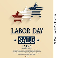 Labor Day sale. Red, white and blue stars. Vector...