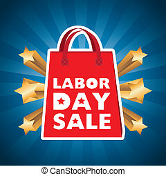 labor day sale - labor day over blue background vector...