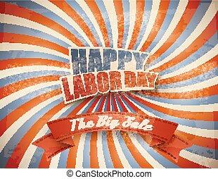 Labor Day Sale Retro Background.